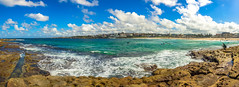 North Bondi Rocks (Anthony Kernich Photo) Tags: sydney nsw newsouthwales australia water ocean sea shore sandy waves pacificocean day sky pano panoramic panorama photo photography photograph photogenic olympusem10 olympus olympusomd microfourthirds travel beautiful spectacular shoreline bondi bondibeach seascape landscape rocks scenic scene image raw