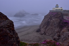 Fog Came in for a While|Cliff House, San Francisco (miltonsun) Tags: giantcamera cliffhouse sanfrancisco fog foginsf cityscape longexposure dusk seascape bay ngc bayarea wave ocean shore seaside coast california pacificocean landscape outdoor clouds sky water rocks mountains rollinghills sea sand beach cliff building evening wildflowers thisisexcellent