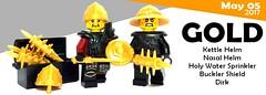May 2017 - Gold (BrickWarriors - Ryan) Tags: brickwarriors custom lego minifigure weapons helmets armor medieval pearl gold castle knight infantry sword dirk buckler nasal kettle holy water sprinkler mace