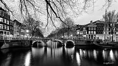 Amsterdam. (alamsterdam) Tags: amsterdam canal brouwersgracht bridge architecture evening reflection boat bikes longexposure