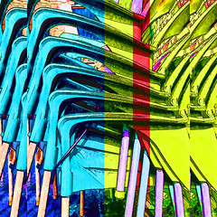 stacked chairs (j.p.yef) Tags: peterfey jpyef yef digitalart chairs stacked stack staple popart blue yellow red photomanipulation