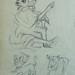 COURBET Gustave - Ornements sculptés, Etudes (drawing, dessin, disegno-Louvre RF29234.11) - Detail 16