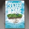 Soccer Game - Premium Flyer PSD Template (psdmarket) Tags: football soccer soccercup soccerflyer sport sportbar sportsflyer sportsposter stadium team tournament uefa worldcup