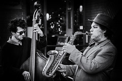 outside the bistro (andy_8357) Tags: outside bistro film noir boulder colorado street photography monochrome people person music musician sax upright sunglasses sony a6000 mirrorless pearl mall co tahona tequila ilce6000 ilcenex alpha blackandwhite black white blancoynegro blanco negro blancynoir sigma 60mm dn art f28 emount jazz cool bass depth field dof hat blues saxophone outdoors portrait retrato e mount