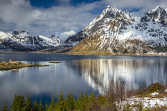 Sun after snowfall (Sizun Eye) Tags: lofoten norway norvège mountains snow reflections reflets vestpollen sildpollnes church fjord paysage landscape vue view sun soleil nuage cloud spring europedunord northerneurope europe sizuneye nikond750 tamron2470mmf28 d750 tamron leefilters nisifilters gettyimages