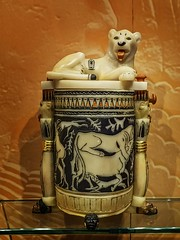 Alabaster unguent jar with recumbent lion lid  found in the tomb of King Tutankhamun Egypt New Kingdom 18th Dynasty 1332-1323 BCE (mharrsch) Tags: alabaster sculpture statue oil jar unguent container vessel gravegoods funeraryart tutankhamun pharaoh king ruler egypt newkingdom 18thdynasty 14thcenturybce mharrsch newyorkcity premierexhibits discoveryofkingtut exhibit