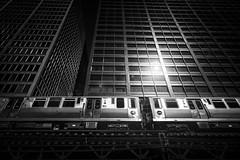 The Chicago EL (Darren LoPrinzi) Tags: 5d canon5d chicago urban canon chitown city miii train el elevatedtrain blackandwhite blackwhite bw mono monochrome light flare glare sunflare sunglare sunlight transportation buildings highrises dark lowkey f64g82d