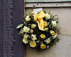 In memory.  War Memorial, Bath, Somerset, UK (MJ Reilly) Tags: bathsomerset england memorial flowers wreath nikon d7200 nikond7200 yellow 1942 secondworldwar worldwartwo blitz victims victimsoftheblitz