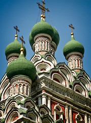 St. Trinity church in Nikitniki, 1650 (Tiigra) Tags: moscow russia ru 2002 architecture church city column dome repetition roof pattern