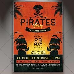 Pirates Party - Premium Flyer PSD Template (psdmarket) Tags: columbus compass costum map monster navigation pirate pirates rope sea shabby ship skull travel treasure