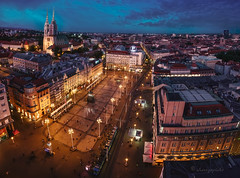 downtown (cherryspicks (on/off)) Tags: city urban panorama bluehour night tower zagreb croatia buildings architecture square cathedral street light downtown metropolitan