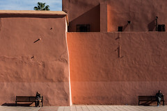ends (superUbO) Tags: marrakech morocco red city ends wall street culture open bench down tabloit people two reportage plaza jamaaelfna