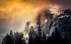 Winter Sunset on Half Dome (Bartfett) Tags: winter sunset half dome yosemite national park california twilight glow fire sky orange snow trees forest mountains granite beautiful landscape valley