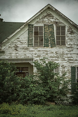 Green Shutters and Broken Windows (Mike Schaffner) Tags: abandoned brokenwindows decay decayed derelict deserted dilapidated ellinger green home house old ruins shutters texas unitedstates us