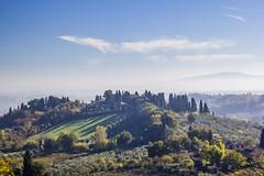 Morning in Tuscany (Italy) (peterwaller) Tags: tuscany italy europe mist haze vista view hills green trees vegetation morning sangimignano