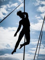 Alfa Marks on rope (real ramona) Tags: flown minack poc circus cornwall aerial rope sky silhouette