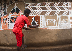 Young man painting the wall of a traditional ethiopian house, Kembata, Alaba Kuito, Ethiopia (Eric Lafforgue) Tags: abyssinia adolescent africa african alaba architecture art artist building color culture day decorated decoration depiction eastafrica ethiopia ethiopian ethnic geometric home horizontal hornofafrica house housing hut illustration kulito mural naive oneperson outdoors painted painter painting people poverty skill teenager toukoul tukul village work working youngadult ethio1634351 alabakuito kembata