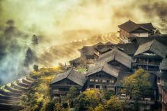 Mountain village in south China (Woloschyn) Tags: terraced rice fields china village guangxi clouds mountains spring cloudy hamlet guilin longsheng pingan longji
