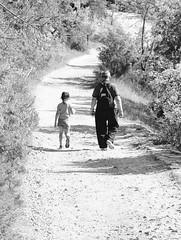 Walking and chatting (nicomadrid12) Tags: granddaughter grandfather kid walk nature path love blackandwhite blackwhite bw grandpère petitefille amour marche chemin noiretblanc