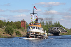 'Daniel Adamson' Moore 23rd April 2017 (John Eyres) Tags: steam tug tender daniel adamson seen passing moore lane swing bridge heading for ellesmere port 230417 manchester ship canal