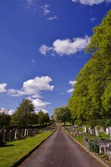 Between stones (Sundornvic) Tags: path road trees green blue sun shine shrewsburycemetery longden coleham sky clouds grass graves burial
