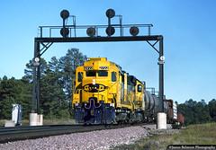 Cresting the Arizona Divide (jamesbelmont) Tags: railroad gp30 santafe atsf arizona riordan freight flagstaff grade signalbridge