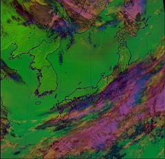 Dust Over the Sea of Japan and Hokkaido/Tohoku CMYK, variant (sjrankin) Tags: 7may2017 edited weather climate dust hokkaido japan jaxa korea koreanpeninsula pacificocean seaofjapan china russia cmyk himawari8