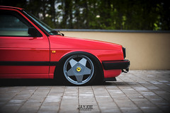 VW GOLF MK2 (JAYJOE.MEDIA) Tags: vw golf mk2 volkswagen low lower lowered lowlife stance stanced bagged airride static slammed wheelwhore fitment ferrariwheels ferrari