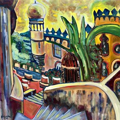 The Castle of Pena in Sintra (The Big Jiggety) Tags: oil canvas tableau huile toile oleo lienzo cuadro pena sintra arquitectura architecture bizarre weird magical realism tower turret tour steps marches marchas crénaux crenelation