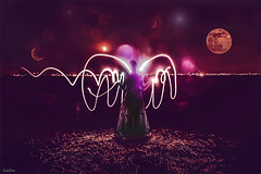 Raving Angelica. (Ludovic Mühlhauser) Tags: girl woman wife female angel beauty nice night moon moonlight landscape city town light lights fantasy fantastic art artistic photomanipulation lightpainting stars star wing wings feminity sensual sensuality dress dark person people outside midnght planet color colors canon canoneos70d troyes aube champagne france europe world earth sky universe galaxy milkyway country summer spring imagination peace love free freedom friendship brotherhood fairy f fairytell