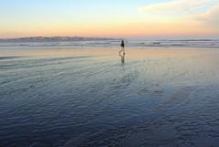 L3181648 (LarryJ47) Tags: leica leicax1 beach woman walking pastel water sea waves sky