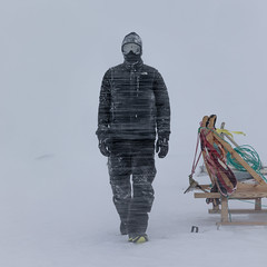 last man standing (Markus Trienke) Tags: gl greenland kulusuk eastgreenland canon eos 5d mkiv winter storm weather snow snowstorm cold ice expedition adventure man standing whiteout