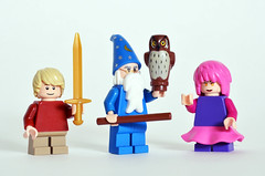 The Sword in the Stone figs (Oky - Space Ranger) Tags: lego disney sword stone king arthur merlin archimedes madam mim wizard excalibur