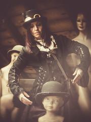 Marionette (i-r-paulus) Tags: marionette mannequins dummys steampunk steampunked hats bowler goggles cctv lens distorted vintage fantasty portrait