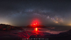 Nubble Lighthouse Milky Way Pano (Mike Ver Sprill - Milky Way Mike) Tags: nubble lighthouse milky way panorama pano cape neddick light maine me nikon d800 1424 long exposure stitched mv michael ver sprill mike versprill best nj photographer landscape night sky stars star galaxy universe cosmos astrophotography astronomy beautiful dark red house water atlantic ocean rocks clear island awesome amazing milkywaymike seascape york