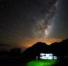 South Island, NZ - Milky Way (Sean Greenland) Tags: milkyway caravan stars star beam lake tree mountain beautiful beauty night nature natural newzealand nightshot nightlight nightsky nightphoto