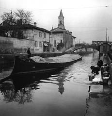 Chiesa di San Cristoforo sul Naviglio, 1950-55 (Milàn l'era inscì) Tags: urbanfile milanl'erainscì milano milan oldpicture milanosparita vecchiefoto san cristoforo