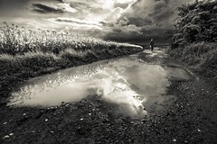 Girl in a storm (frantiekl) Tags: way path weather storm girl walk rain clouds reflection sky field landscape nature may bw blackandwhite rural mono lady bnw day bohemia light life people walking water
