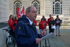 Speech being read out (James O'Hanlon) Tags: international workers memorial day internationalworkersmemorialday service liverpool 2017 malcolmkennedy deputy mayor cllr malcolm kennedy wreath public pier head georges dock mersey tunnel
