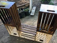 Garden Space (TMLizzy Irwin) Tags: homemadepottingtable applecrates ididthat imadethat pottingtable irwingarden2017 irwingarden april2017