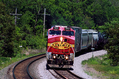 Squint & It's '95! (Jeff Carlson_82) Tags: bnsf burlingtonnorthernsantafe atsf santafe warbonnet 642 kckbar hkckbar zarah shawnee ks kansas emporiasub transcon manifest train railfan railroad railway