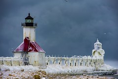 Winter throwback (Notkalvin) Tags: stjoseph lighthouse michigan notkalvin mikekline notkalvinphotography outdoor winter cold ice icy iced snow freezing clouds storm
