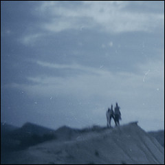 triplets (biancavanderwerf) Tags: film fuji sprocketrocket navarra spain travel 3 three people bianca mountain landscape square unsharp mystical mysterious mono blue dust negative camera together