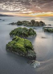 Sunset (GC - Photography) Tags: verde green playa beach agua water mar sea atardecer sunset sol sun nubes clouds lacoruña galicia españa spain gcphotography rocas rocks algas seaweed arena sand coast repibelo repibelobeach playaderepibelo filtrosnd ndfilters nikon d500