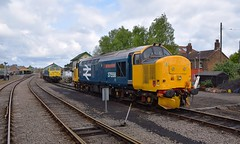 DRS Loco 37424 'Avro Vulcan XH558' stabled at Dereham with resident 47357 in the background. Spring Diesel Gala 01 05 2017 (pnb511) Tags: mnr midnorfolkrailway train engine loco locomotive diesel mid norfolk railway spring dieselgala weekend drs class37 class47