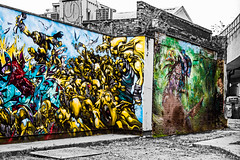 fantasy war on the walls (PDKImages) Tags: street art walls murals signs messages shoreditch shoreditchstreetart posterart colours contrasts urban city london londonstreetart
