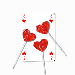 three of hearts (brescia, italy) (bloodybee) Tags: 365project playingcards cards play game stilllife white red square 3 three heart lollipop sugar sweets candy food