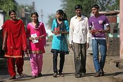 (Consent Obtained ) Datala Village, Chandrapur District, Maharashtra, INDIA.  22 January 2011:  From left: Rohini Deshkar (18), Shital Chide (16), Rushali Gajabhaye (18), Pramod Ladke (24) and Vikas Rohane (19)  who are all  part of the UNICEF funded Red (unicefindia) Tags: grouppeople hivaidsprevention india lifeskills youthcentre