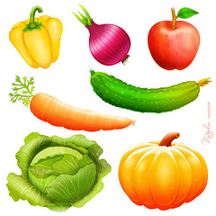 Set  illustration of vegetables collection (marozn) Tags: vegetable art set pepper food carrot tomato onion illustration healthy lifestyle vegetarian pumpkin fruit line collection apple organic symbol lettuce vitamin icon isolated leek cooking plant nature fresh hand cucumber cabbage market natural kitchen rustic drawing salad white sketch background icons lineart green fall color