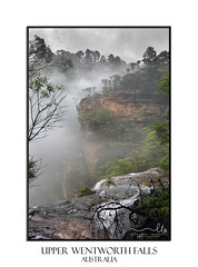 Misty Upper Wentworth Falls (sugarbellaleah) Tags: wentworthfalls waterfall valley misty foggy bluemountains australia nature rock cliffs high flowing water cold view scenic trvel tourism vacation getaway bushwalk environment cloudy trees bush mountain sandstone